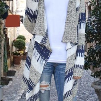Casual Color Block Knitted Cardigan