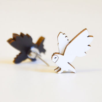Barn Owl earrings -  hand painted, double layer, sustainable wood studs