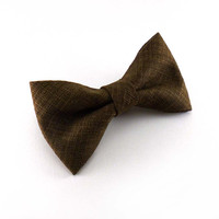 Caramel brown clip on bow tie – mens or womens unisex adult size – rich brown woven fabric – rustic clipon bowties