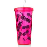 Victoria's Secret PINK Tumbler Cup With Straw Hot Pink Pineapple 24. oz. + BONUS VS DECAL