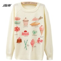 Christmas Women Sweater Autumn Winter Women Pullovers Sweater Cute Candy And Cake Print Women Long Sleeve  Female Sweater