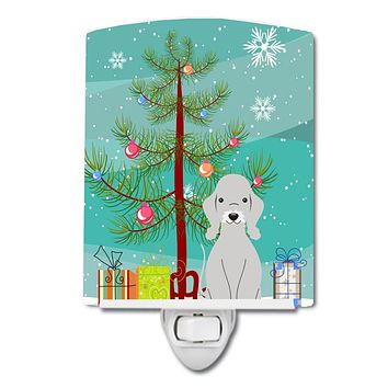 Merry Christmas Tree Bedlington Terrier Blue Ceramic Night Light BB4215CNL