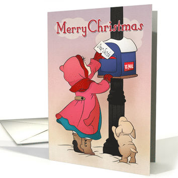 Girl Mailing a Dear Santa Letter with Puppy for Vintage Christmas card