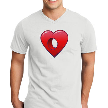 Hole Heartedly Broken Heart Adult V-Neck T-shirt by