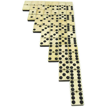 Civil War Era DOMINOES Rare Complete - Bone Faces and Ebony Wood Backs - Vintage Dominoes Set -  Family Game Night -  Collectible Militaria