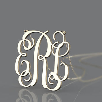 Golden monogram necklace 1 inch monogram plated in gold initial name pendant for valentines gift