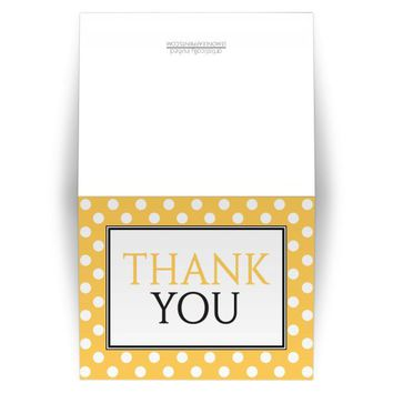 Thank You Cards - Polka Dot Yellow Pattern