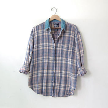 80s plaid button up shirt. Plaid flannel. Rugby shirt. Pocket shirt.