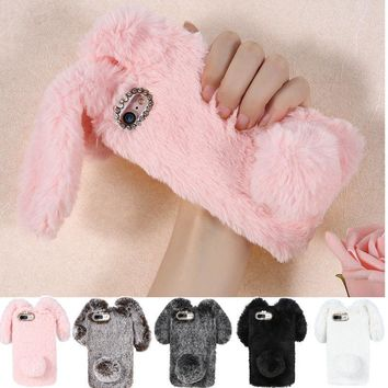 Fur Phone Case Cover Luxury Bling Diamond Bunny Rabbit Plush Fuzzy Fluffy Soft