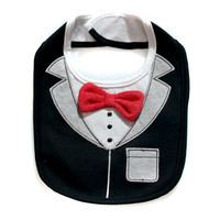 Black & Gray Tux Bib w/ Attached Red Bow Tie