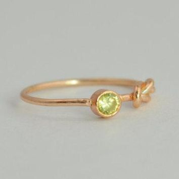 Solid 14k Rose Gold Peridot Infinity Ring