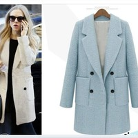 Wool Slim Plus Size Double Breasted Coat [191193022490]