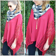 SZ MEDIUM Smitten For You Burgundy Fringe Poncho Top