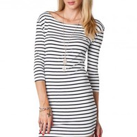 Boat Neck Striped Dress in Skinny Stripes - ShopSosie.com