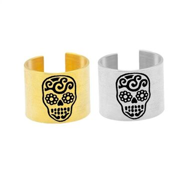 Stainless Steel Mexican Sugar Skull Ring Adjustable
