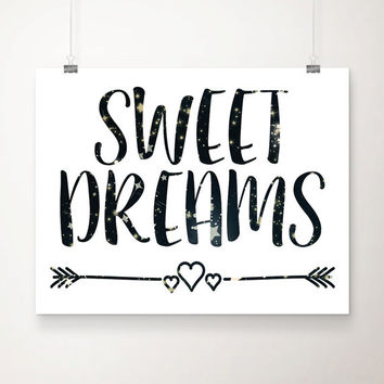 Sweet Dreams Stars Art Print - Children's Wall Art - Nursery Art  - Home Decor - Wall Art