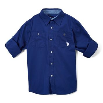 Marina Blue Roll-Tab Button-Up - Toddler & Boys