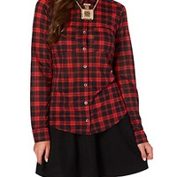 Red Plaid Knit Button Down