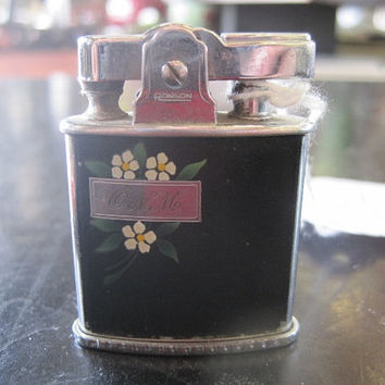 Mid Century Ronson Ladies' Lighter Black Enamel with Mongram and Floral Enamel Design
