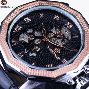 Forsining GMT881 Windmill Skeleton Ripple Design Irregular Shape Men Luxury Automatic Skeleton Watch