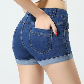 Women Jean Shorts 2015 New Korean Spring Summer Shorts Women Big Yards Curling Denim Shorts D885