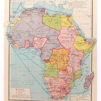 1948 Africa Map - Vintage human map of Africa / Egypt, Sudan and East Africa - Bartholomews map - home decor, office decor - wall decor
