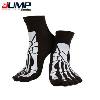 Punk Rock Men's Toe Socks Skull Design Hip Hop Cotton Sock Five Fingers