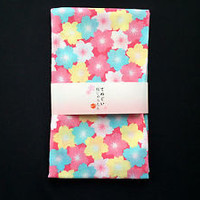 Japanese Hand Towel Traditional Tenugui 100% Cotton Cherry Blossoms Pastels  T12