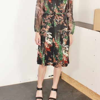 Poet Sleeve Floral Tie Dress / M