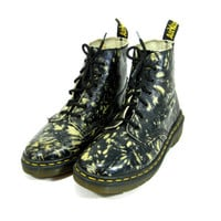 Vintage Black and White Doc Martens - Dr Martens, Abstract, Print, Rare, Combat Boots, Grunge, Size 6 6.5 7