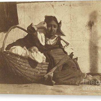 Barefoot Girl Leaning On Basket With A Doll - Canvas Print