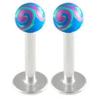 Handpainted Ball Labret [Gauge: 16G - 1.2mm / Length: 8mm / Ball Size: 3mm] 316L Surgical Steel & Acrylic (Blue) // Set of 2 (LHPD03)