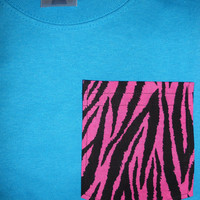 Free US S/H - MEDIUM California Blue Teal Frocket Unisex Adult TShirt - Fraternity Sorority with Pink and Black Zebra Pocket
