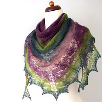 hand knit triangle lace shawl wool scarf purple green teal