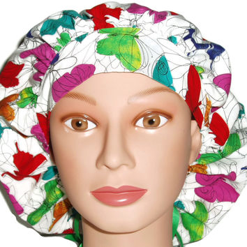 Women's Bouffant, Pixie, or Ponytail Surgical Scrub Hat Cap in Colorful Butterflies