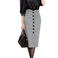 2015 Autumn and Winter Women High Waist Knee Length Pencil Skirt Female Woolen Single Breasted Midi Skirts Plus Size S-XXL