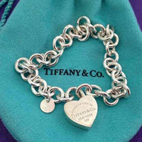Return to Tiffany & Co. New York Heart Locket Sterling Silver Link Bracelet