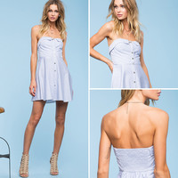 Summer Fashion Stripe Buttons Sleeveless Strapless Mini Dress