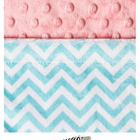 "Baby Laundry 91231 Soft Minky Topaz Chevron Pink Cuddle 14""x18"" Baby Blankey with Pacifier Clip"