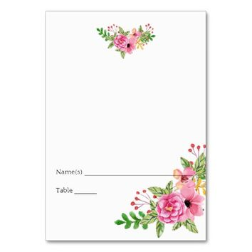 Elegant Floral Wedding Place Card