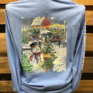 Southern Chics Christmas on the Farm Snowman Long Sleeves T Shirt