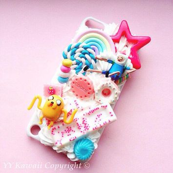 Custom Adventure Time Kawaii Decoden Whipped Cream Style Phone Case For Iphone 4/4s 5 Samsung Galaxy S2 S3 S4 Mini And Htc One