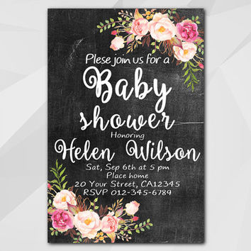 Watercolor Baby Shower Invitation, Chalkboard Floral Invitation, Custom Baby Shower invitation, etsy invitation XB020c-1