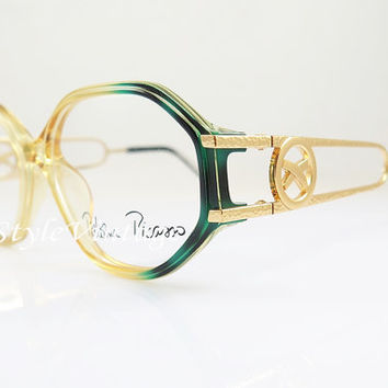 SPRING SALE PALOMA Picasso 3762 , Vintage Eyeglasses , New Old Stock , Vintage , Gold and Green , Yellow , Oval , Hipster  , Sunglass Frames