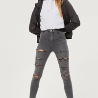 MOTO Grey Super Ripped Joni Jeans