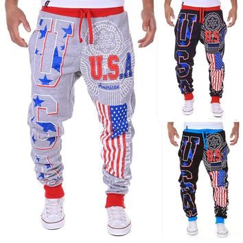 Hot Sell Classics Men's Casual American Flag USA Printed letters Design Pants