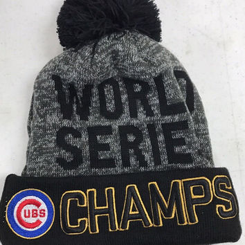 Chicago Cubs World Series Champions Black & Gray Pom Beanie