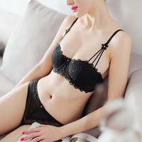 Fashion Women Bra Set Underwire Half Cup Embroidery Bra Panties Set Breathable Sexy Lingerie Set Thin Lace Bra Brief Set