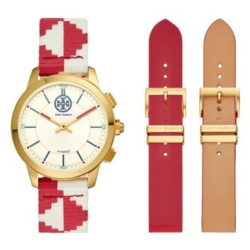 Tory Burch The Collins Hybrid Woven Strap Smart Watch Set, 38mm | Nordstrom