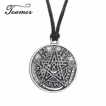 Teamer Hot Selling Men Talisman Magic Amulet Viking Gothic Jewelry Supernatural David of Star Pendant Necklace